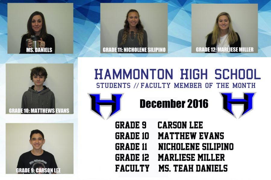 December 2016 Students and Faculty Member of the Month