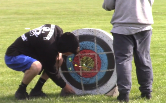 Hitting the target at archery competition