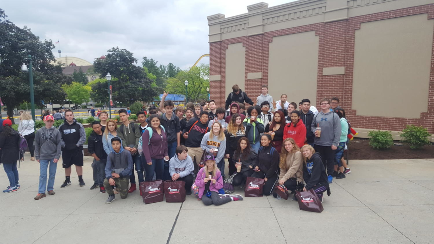 Students pose as a group when they attended Great Adventure's Spring Physics Day on Friday, May 12.