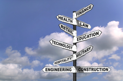 Concept image of a signpost showing the way to ten different career paths
