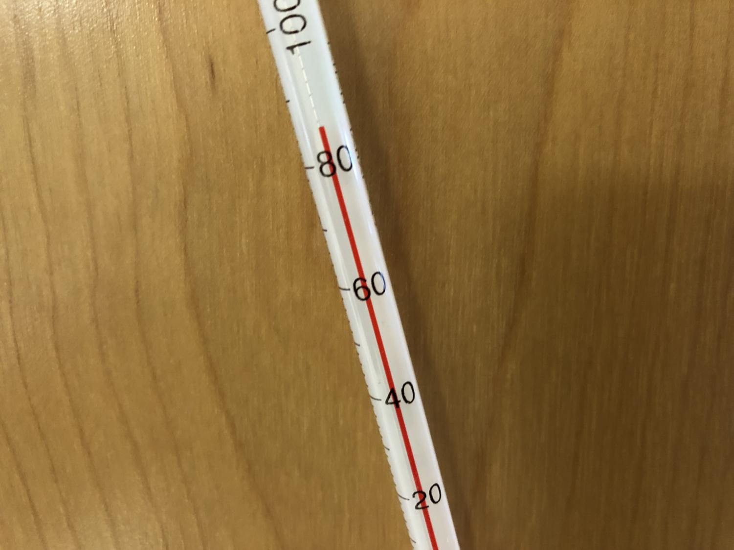 A thermometer from the one of the chemistry classrooms on the second floor showed the temperature in the mid-80s.