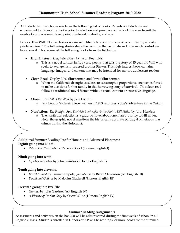 HHS announces 19-20 Summer Reading program – The Devils' Advocate