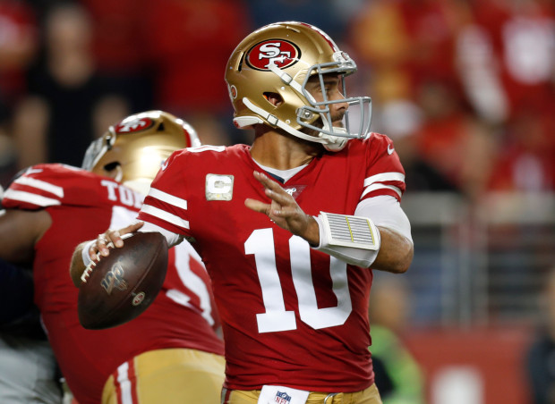 SANTA+CLARA%2C+CALIFORNIA+-+NOVEMBER+11%3A+San+Francisco+49ers+starting+quarterback+Jimmy+Garoppolo+%2810%29+throws+against+the+Seattle+Seahawks+in+the+second+quarter+at+Levi%27s+Stadium+in+Santa+Clara%2C+Calif.%2C+on+Monday%2C+Nov.+11%2C+2019.+%28Nhat+V.+Meyer%2FBay+Area+News+Group%29