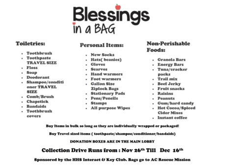 Interact and Key Club collecting for blessing bags