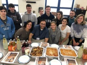 Italian 3 students make gnocchi with Chef Lou