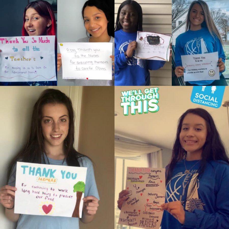 Varsity cheerleaders thank essential workers